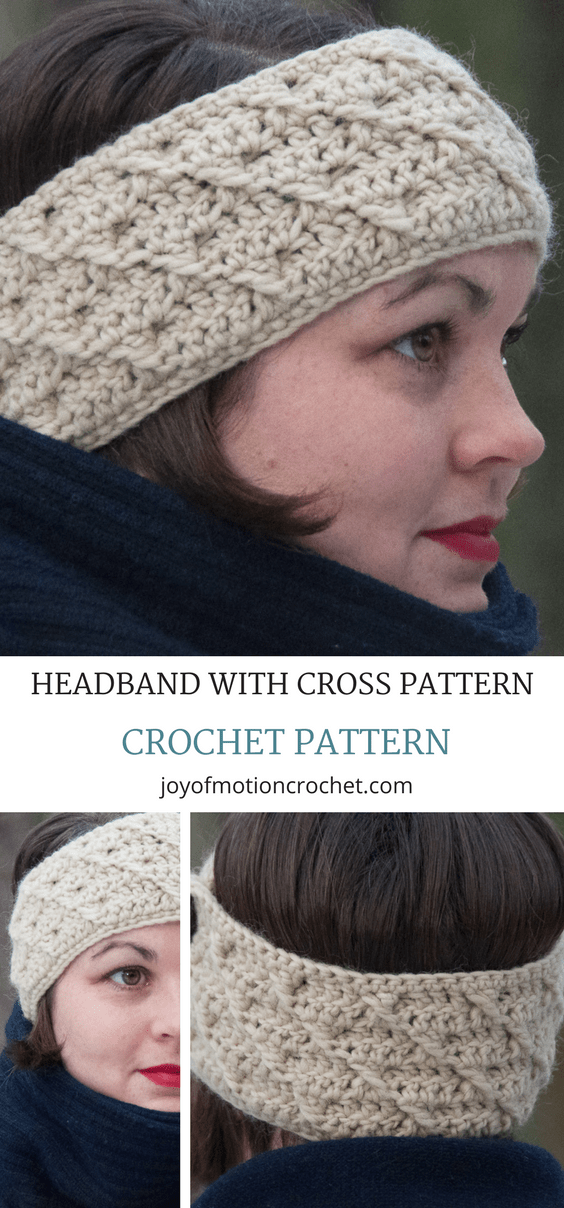Headband with cross pattern crochet pattern. Ear warmer crochet headband. Crochet headband patter. Crochet headband with buttons. Crochet ear warmer. #crochetearwarmer #crochetheadband #crochet #crochetpattern #crochetpatterns