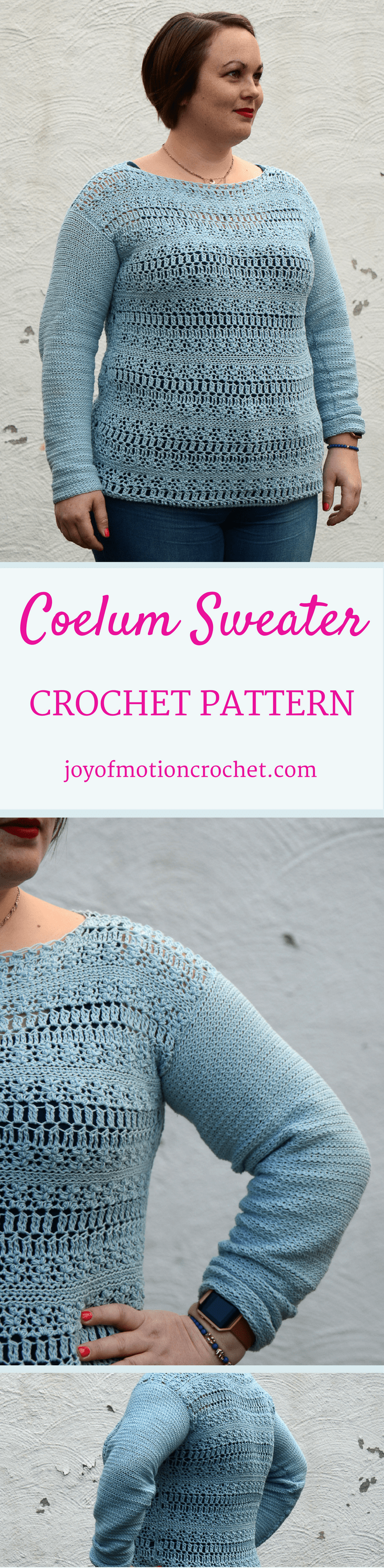 The Coelum Sweater a crochet pattern. Woman's sweater crochet pattern with skill level easy. Make this fashionable crochet sweater with you own hook & yarn. Sweater crochet pattern easy for her . Crochet sweater | woman's crochet sweater | crochet pattern for her | fashionable crochet sweater | interesting crochet sweater | click to learn more or repin to save it forever.