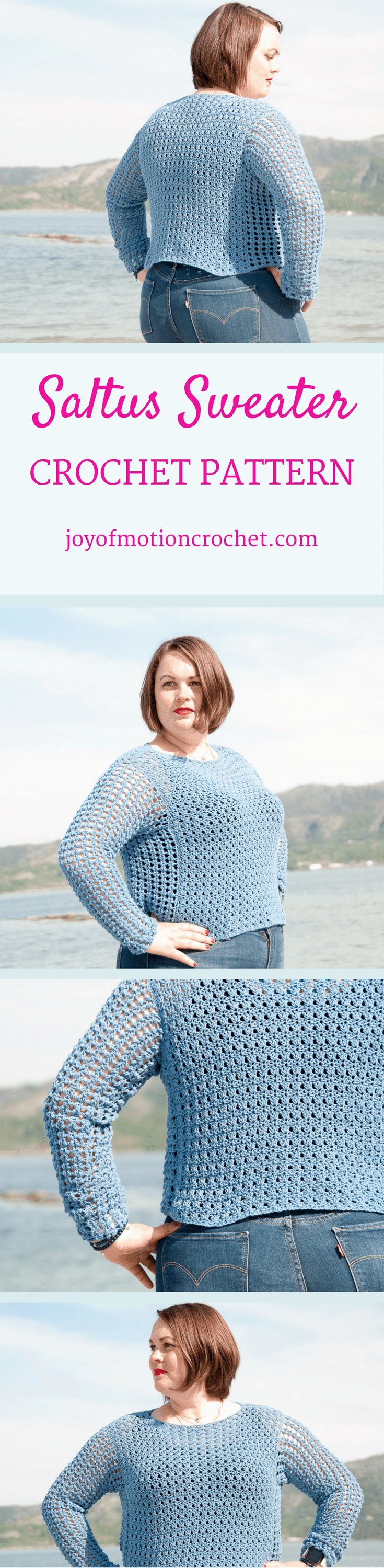 The Saltus Sweater a crochet pattern. Woman's sweater crochet pattern with skill level easy. Make this fashionable crochet sweater with you own hook & yarn. Sweater crochet pattern easy for her . Crochet sweater | woman's crochet sweater | crochet pattern for her | fashionable crochet sweater | interesting crochet sweater | click to learn more or repin to save it forever. Spring crochet sweater.