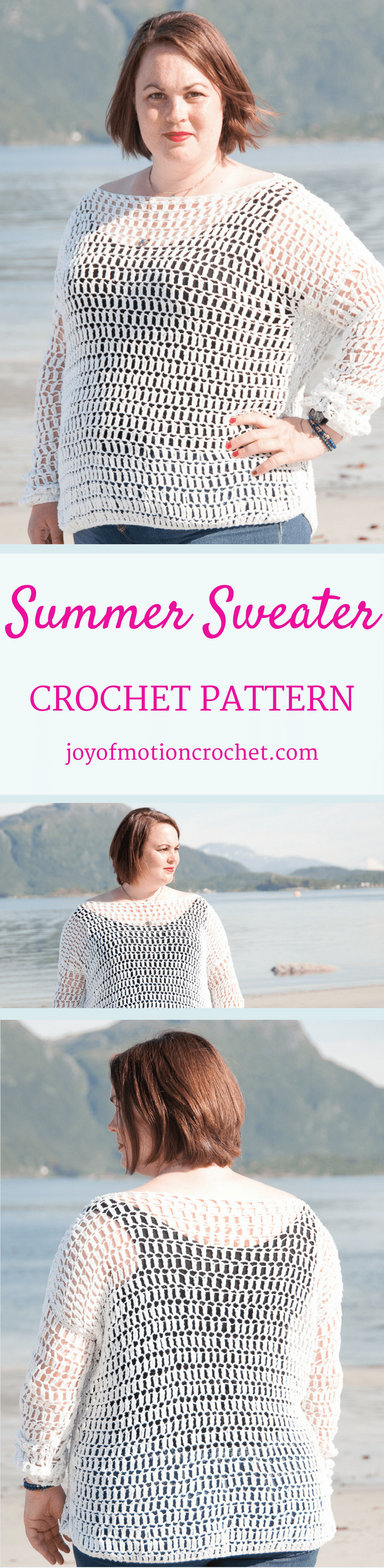 The Summer Sweater a crochet pattern. Woman's sweater crochet pattern with skill level easy. Make this fashionable crochet sweater with you own hook & yarn. Sweater crochet pattern easy for her . Crochet sweater | woman's crochet sweater | crochet pattern for her | fashionable crochet sweater | interesting crochet sweater | click to learn more or repin to save it forever. Spring crochet sweater.