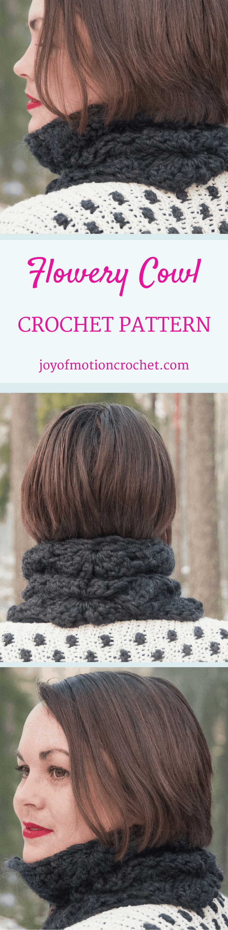The Flowery Cowl. Crochet pattern for a warm winter cowl. This cowl crochet pattern is one-size, but can be customized. Cowl crochet patterns. Crochet pattern cowls. Winter crochet patterns. Click link to learn more.