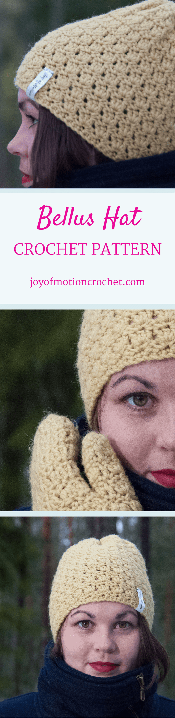 The Bellus hat. Crochet pattern for a warm winter hat. This beanie pattern has a huge size range from 12 months to adult size| Hat crochet patterns. Crochet pattern hats. Beanie crochet patterns. Hood crochet pattern. Hat crochet designs. Slouchy hat patterns. Slouchy beanie crochet patterns. Animal crochet pattern hats. Women's crochet pattern hat. Baby crochet pattern beanie. Beanie crochet pattern children's. Click link to learn more.