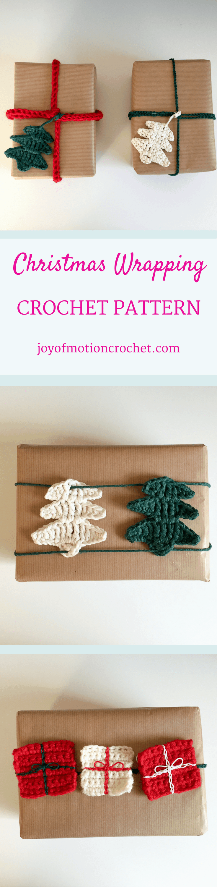 Christmas Wrapping crochet pattern. Christmas crochet. Christmas crochet idea. Crochet your Christmas wrapping. Christmas Threes. Christmas Star. Christmas garland. Christmas packages. Pin it now & keep it forever. Click to learn more.
