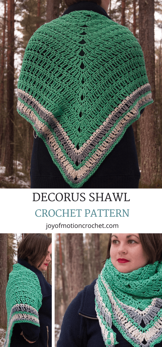 The Decorus Shawl - a crochet pattern. A shawl crochet pattern for a quick & easy project. Perfect in both cotton & wool. Make this in just an evening or a few days. Woman's crochet pattern | shawl crochet pattern | easy crochet pattern | crochet pattern for her | quick crochet pattern | wrap crochet pattern | cowl crochet pattern | warm crochet pattern. Click to purchase or repin to save it forever.