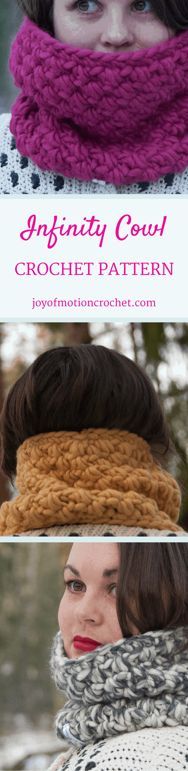 The Infinity Cowl. Crochet pattern for a warm winter cowl. This cowl crochet pattern is one-size, but can be customized. Cowl crochet patterns. Crochet pattern cowls. Winter crochet patterns. Click link to learn more.