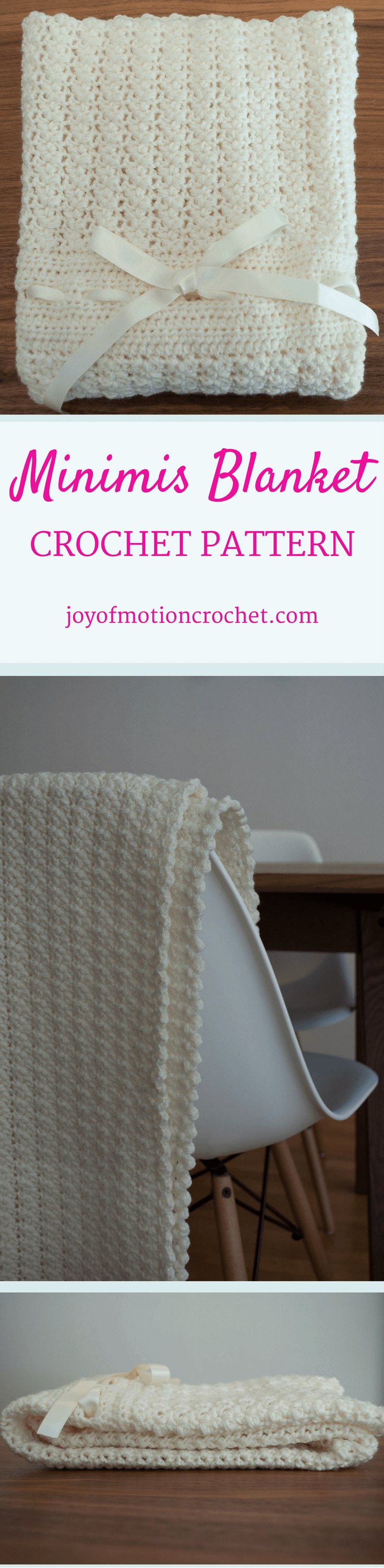 The Minimis Blanket - a crochet pattern. Crochet pattern for a baby blanket. Perfect for any stroller or newborn child. Easy to modify to make longer or wider if you want. Size: One. Baby blanket | stroller blanket | easy crochet pattern | joy of motion design | crochet pattern for a mother | newborn crochet pattern | gift crochet pattern. Click to purchase or repin to save it forever.
