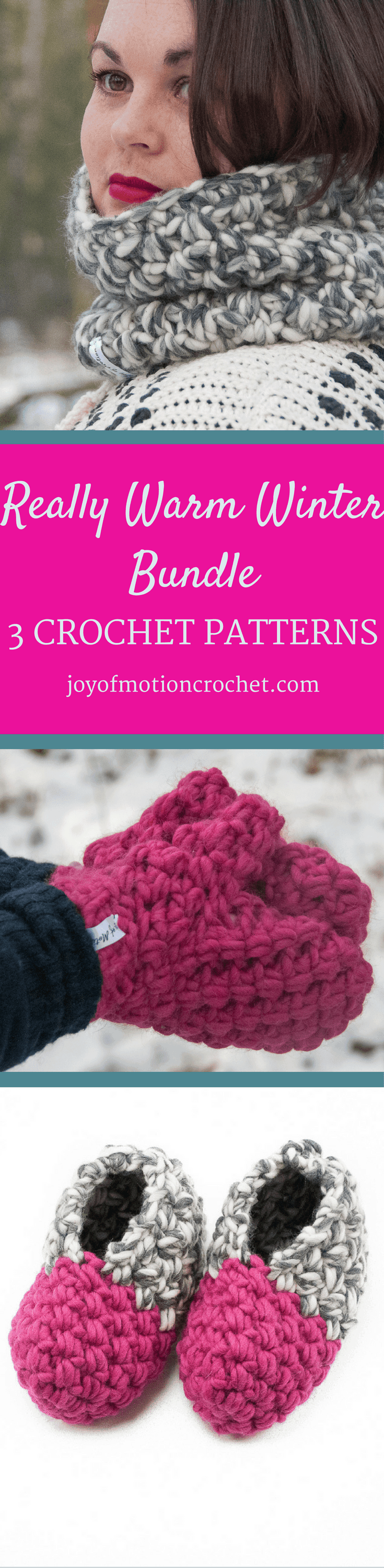 Really Warm Winter Bundle. Bundle Crochet Patterns. 3 crochet patterns E-book. Bulky Mittens Crochet pattern. mittens crochet pattern design. Intermediate crochet pattern. Mittens crochet pattern. Crochet pattern for mittens.Intermediate mittens crochet pattern. The Cozy Slippers - unisex slippers crochet pattern. Slippers crochet pattern for men & women. The Infinity Cowl. Crochet pattern for a warm winter cowl. This cowl crochet pattern is one-size, but can be customized. Cowl crochet patterns. Crochet pattern cowls. Click to learn more or pin it for later.
