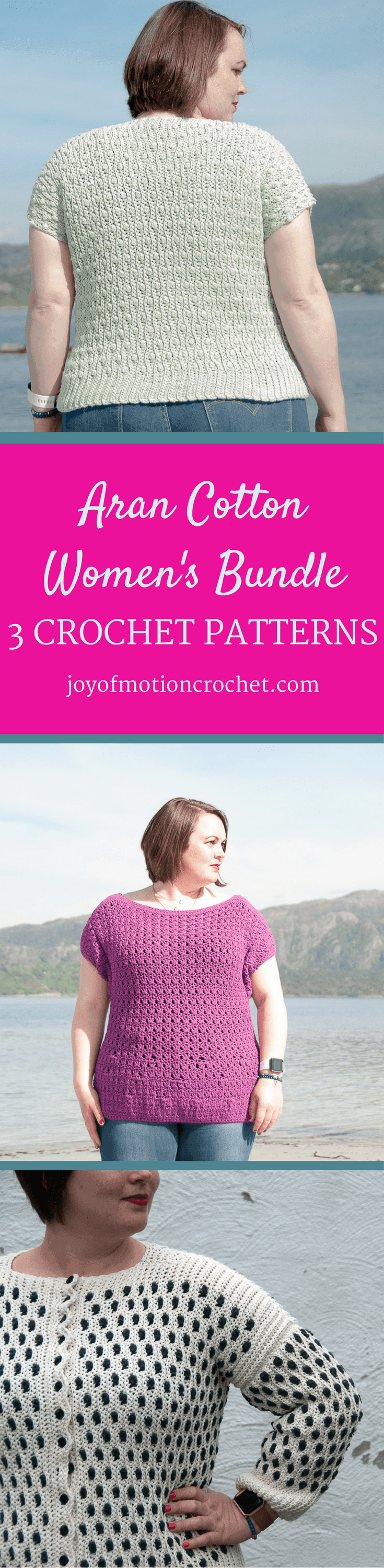 Aran Cotton Women's Bundle. Bundle Crochet Patterns. 3 crochet patterns E-book. The Sidus Cardigan a crochet pattern. Woman's cardigan crochet pattern with skill level intermediate. The Solis top a crochet pattern. Woman's top crochet pattern with skill level intermediate. The Choro top a crochet pattern. Woman's top crochet pattern with skill level easy. Make this fashionable crochet top with your own crochet hook & yarn.
