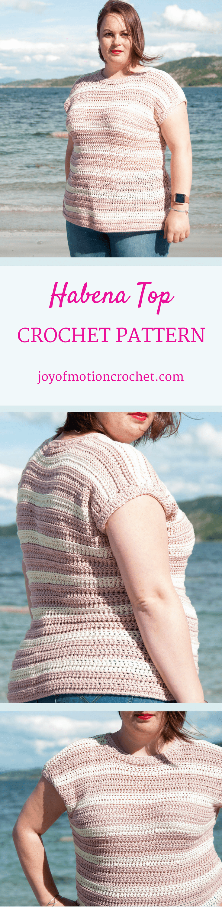 Habena top crochet pattern. Crochet top plus size. Crochet top striped. Crochet top shirt. T-shirt crochet pattern. #crochettop #crochetpattern #intermediatecrochet #crochetpatterntop #crochetpatternforher