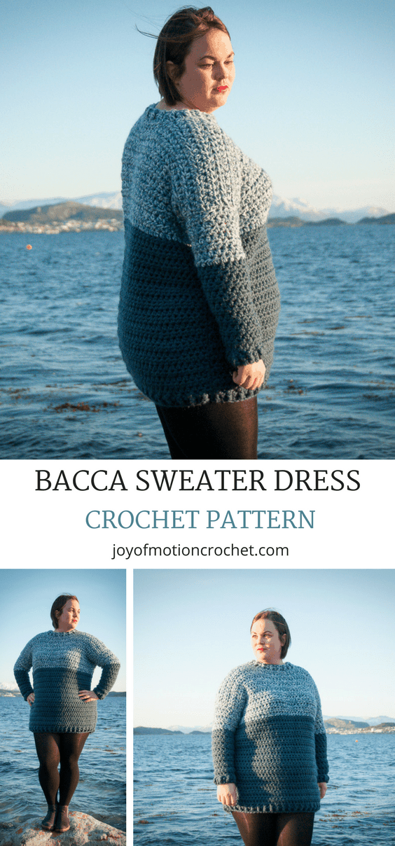 The Bacca Sweater Dress crochet pattern. Woman's sweater crochet pattern with skill level easy.  Crochet sweater dress | woman's crochet sweater | crochet pattern for her | #crochetpattern #crochet #crochetsweater #crochetdress #easycrochetpattern