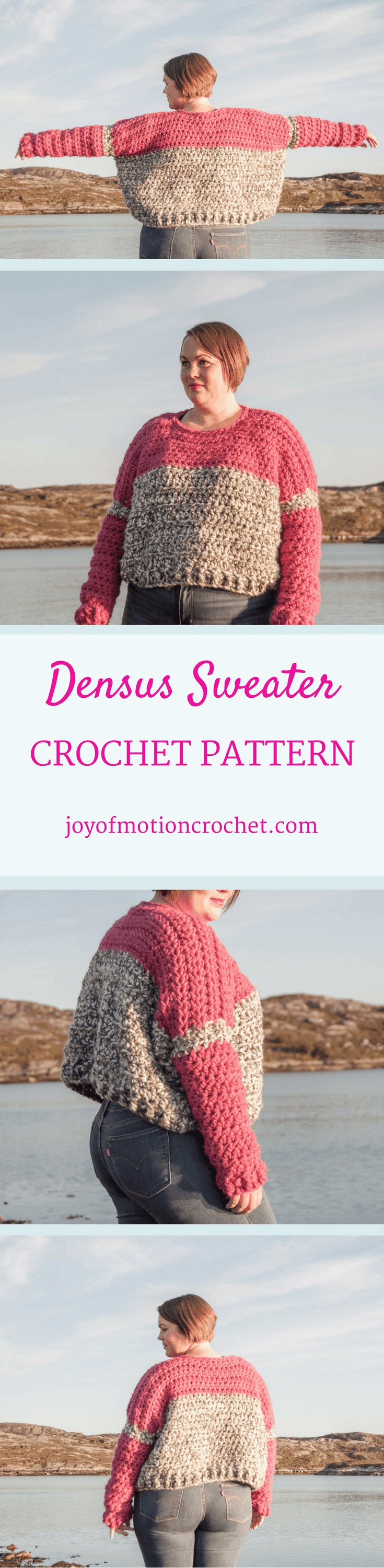 The Densus Sweater a crochet pattern. Woman's sweater crochet pattern with skill level easy. Make this fashionable crochet sweater with you own hook & yarn. Sweater crochet pattern easy for her . Crochet sweater | woman's crochet sweater | crochet pattern for her | fashionable crochet sweater | interesting crochet sweater | click to learn more or repin to save it forever.