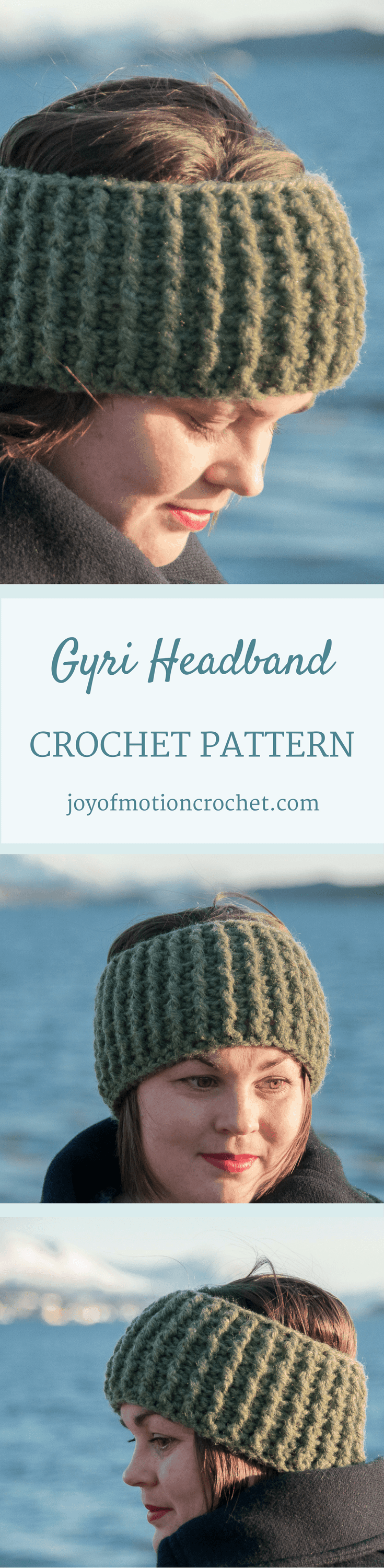 The Gyri Headband Crochet Pattern Design. Headband crochet pattern. Easy crochet pattern. Quick crochet pattern. Ear warmer crochet pattern. #crochetpattern #headbandcrochetpattern #crochetheadband #crochetearwarmer #crochet