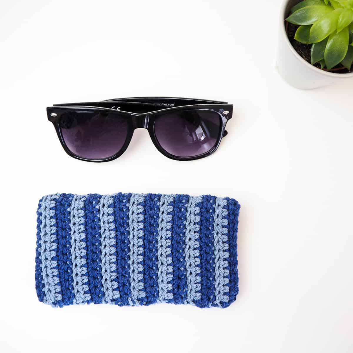 Striped Sunglasses Pouch by Joy of Motion Crochet