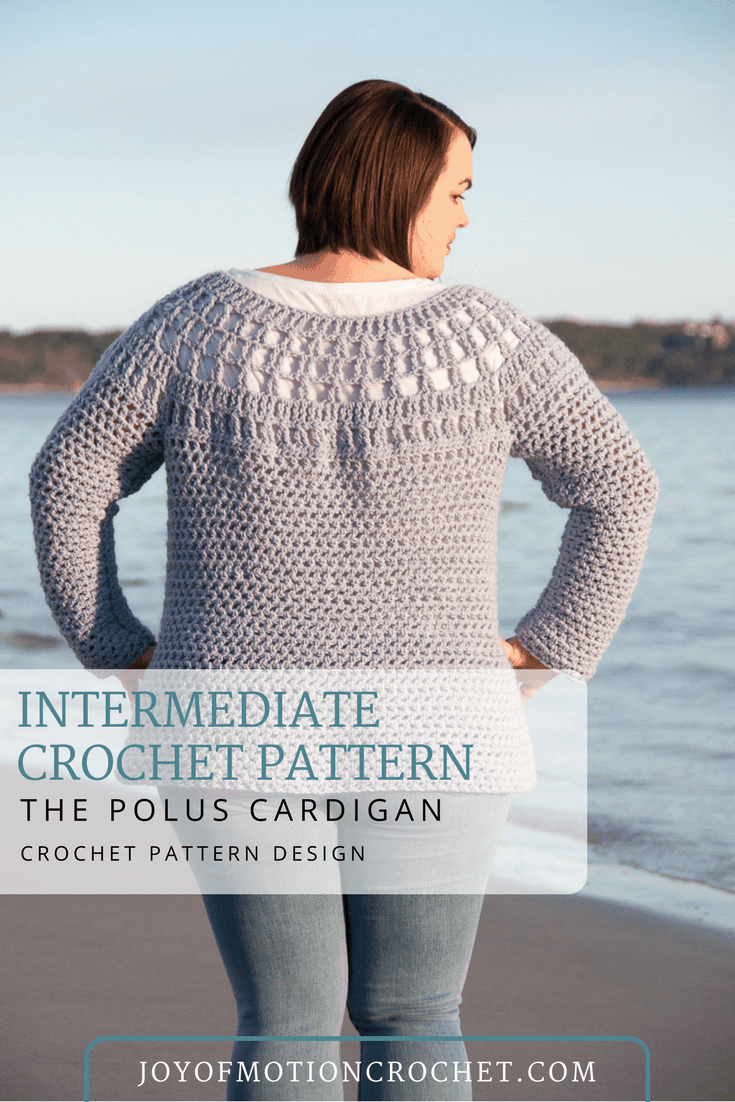 Polus Cardigan Crochet Pattern. Crochet pattern for her. Woman's garment crochet pattern. Cardigan crochet pattern for her. Crochet cardigan pattern. #crochetcardigan #crochetpattern #crochetpatterncardigan #womenscrochetpatterns