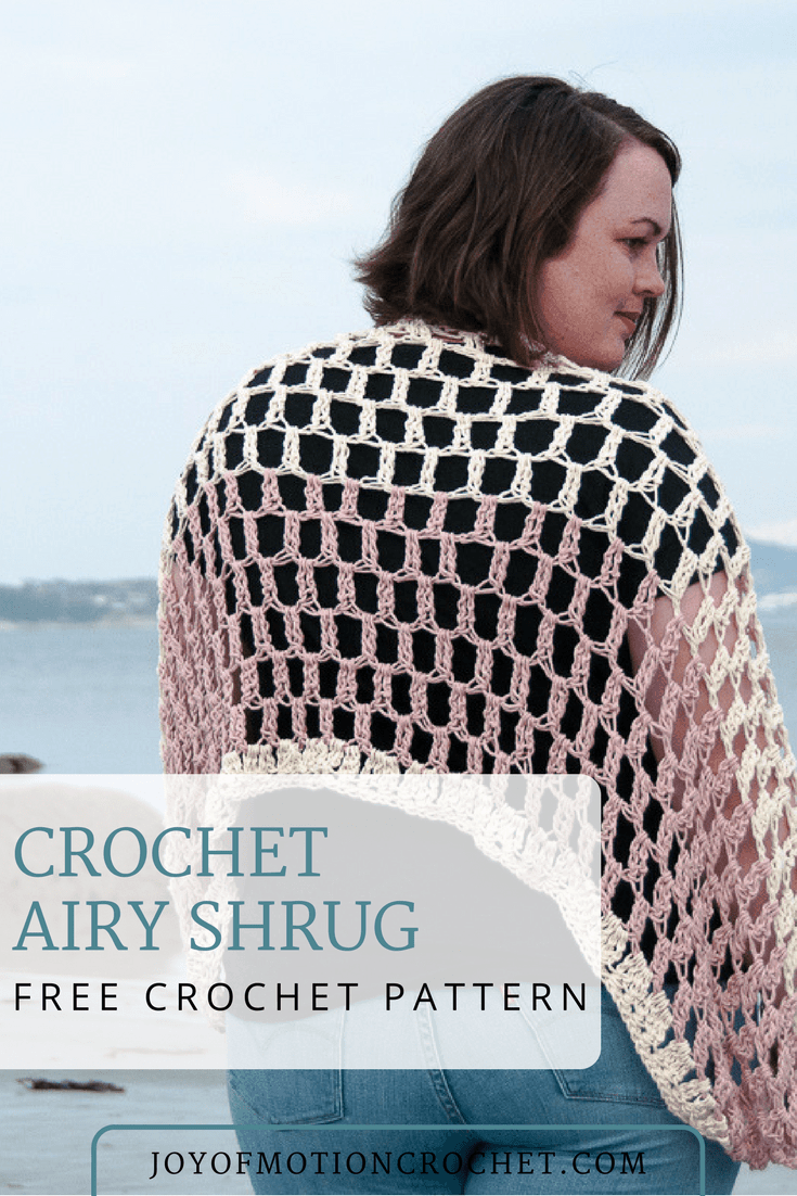 FREE crochet pattern for the Airy shrug. Easy crochet pattern that is quick to make. PDF version available here: .... Summer crochet pattern. Wrap crochet pattern. Quick crochet pattern. Women's garment crochet pattern. Shrug crochet pattern. Cardigan crochet pattern. Shawl crochet pattern. #crochetpattern #shrug #easycrochetpattern #freecrochetpattern #summercrochet #crochet #crochetforher
