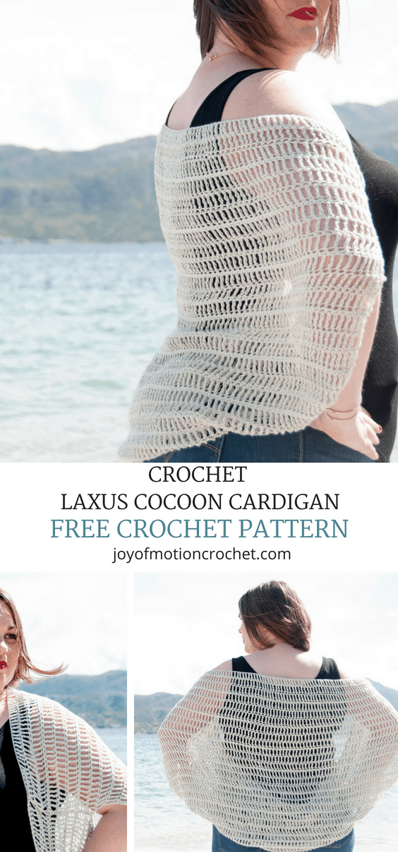 FREE crochet pattern for the Laxus Cocoon Cardigan. Beginner rochet pattern that is quick to make. .... Summer crochet pattern. Quick crochet pattern. Women's garment crochet pattern. Beginner friendly crochet pattern. Shrug crochet pattern. Cardigan crochet pattern. Shawl crochet pattern. #crochetpattern #freecrochet #easycrochetpattern #freecrochetpattern #summercrochet #crochet