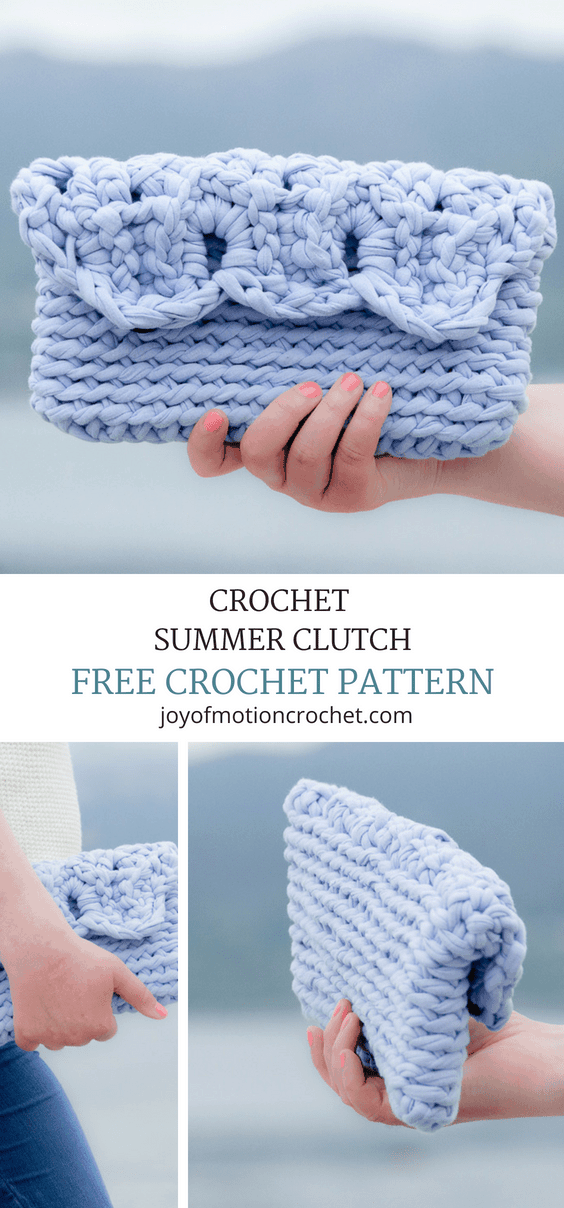 Crochet Summer Clutch - a free crochet pattern. Quick crochet pattern to follow & easy to make. Easy - intermediate skill level. Use fabric yarn to crochet this clutch. .... Summer crochet pattern. Bag crochet pattern. Clutch crochet project. Free crochet pattern. Crochet for her. ... #crochet #crochetpattern #freecrochetpattern #crochetclutch
