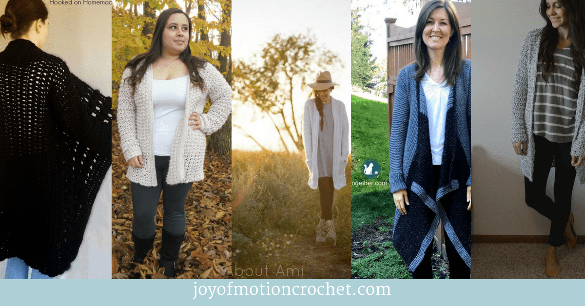 10 Wonderful Crochet Cardigans for Fall, picture collage with fall crochet cardigan patterns