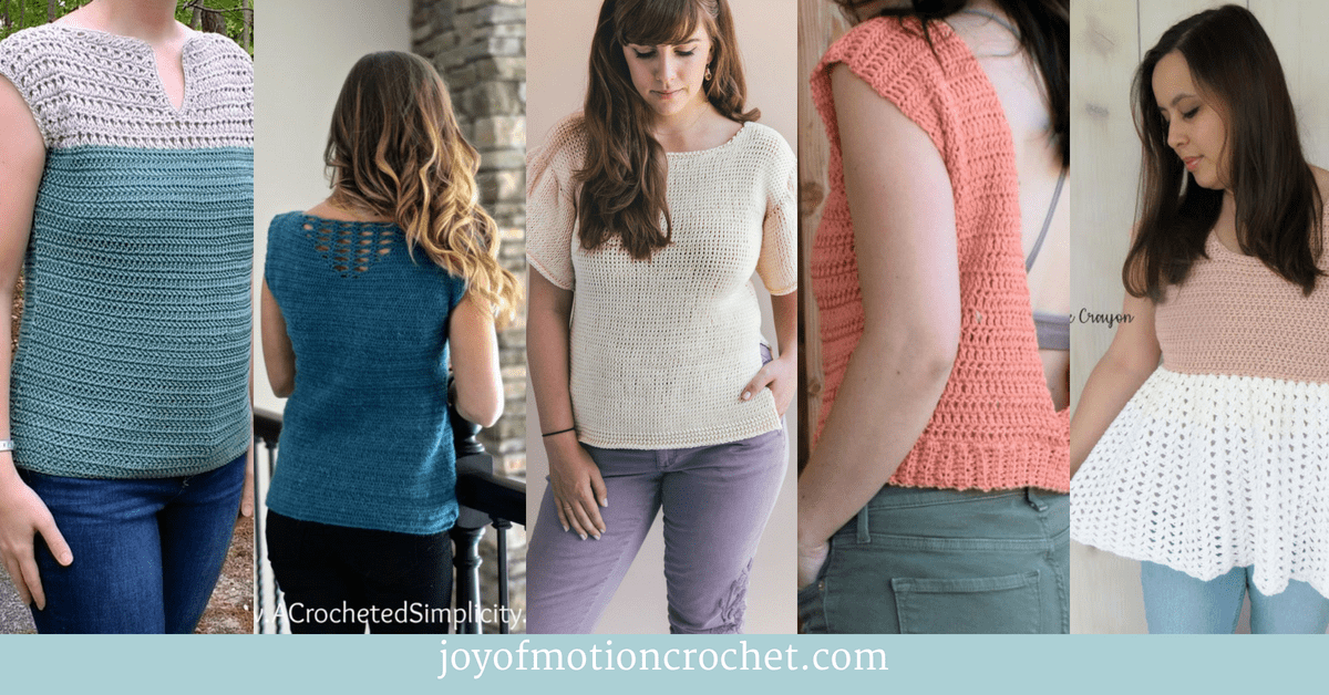 11 Fun Summer Crochet Tops, collage with crochet tops for summer