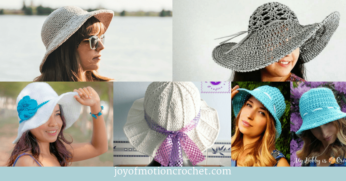 7 Crochet Sun Hats for Summer, collage with crocheted hats
