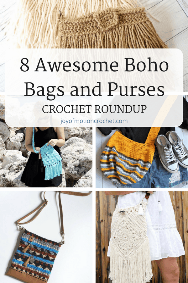 8 awesome boho bags and purses crochet patterns. Shabby chick crochet inspiration. Gypsy style crochet bags for her. Crochet bags with fringe. ... #crochet #crochetbag #crochetpatterns #crochetforher #crochetidea