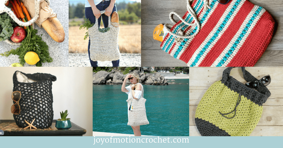 9 Amazing Crochet Market Bags You Need, collage with crochet market bags