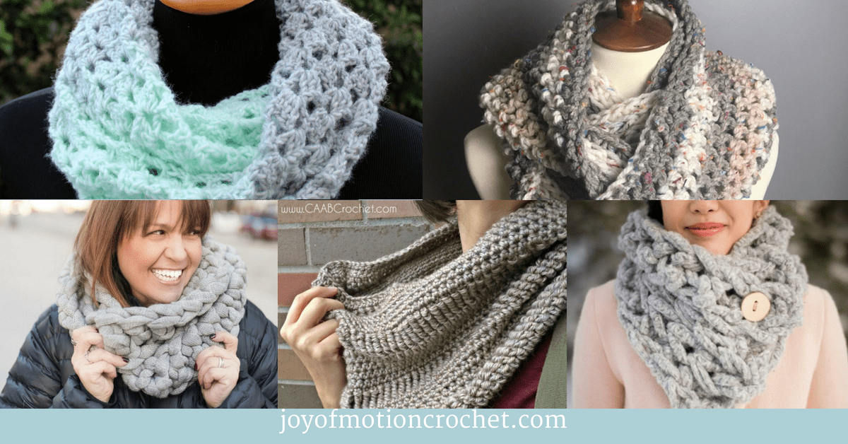 9 Fun Crochet Cowls and Scarfs for Fall, collage with crocheted cowls and scarfs