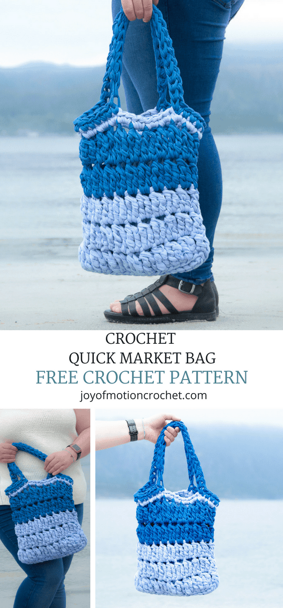 Crochet Quick Market Bag - a free crochet pattern. Quick crochet pattern to follow & easy to make.  Easy - intermediate skill level. Use fabric yarn to crochet this market bag. ....... Summer crochet pattern. Bag crochet pattern. Market bag crochet project. Free crochet pattern. Crochet for her. ..... #crochetpattern #crochet #freecrochetpattern #crochetbag