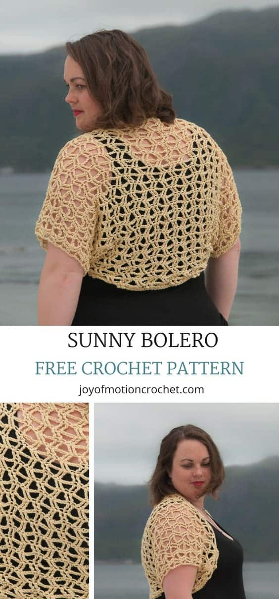 FREE crochet pattern for the Sunny Bolero. Easy crochet pattern that is quick to make. PDF version available here: .... Summer crochet pattern. Wrap crochet pattern. Quick crochet pattern. Women's garment crochet pattern. Shrug crochet pattern. Cardigan crochet pattern. Bolero crochet pattern. #crochetpattern #crochetbolero #easycrochetpattern #freecrochetpattern #summercrochet #crochet #crochetforher