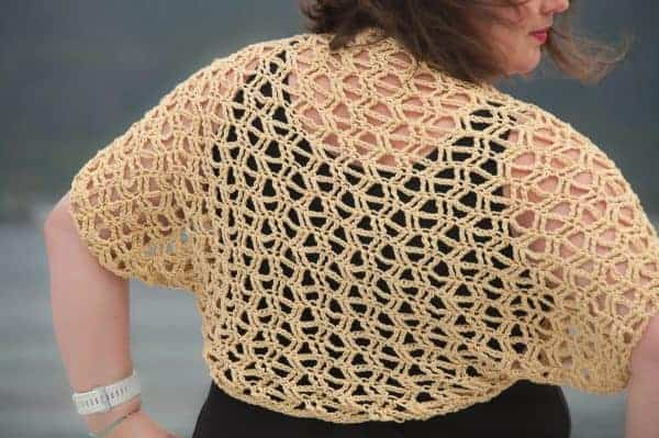 crochet sunny bolero crochet pattern design, a crochet bolero shrug wrap modeled