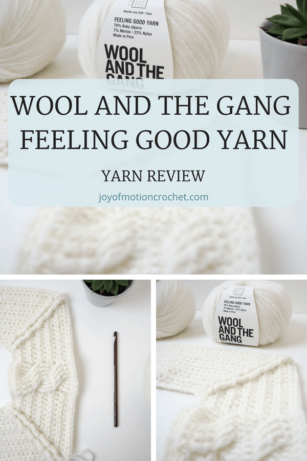 Yarn review of Wool and the Gang's Feeling Good Yarn, a winter yarn. High quality yarn with yarn review. Great color choices for this yarn.  Great yarn containing alpaca, merino & nylon for winter crochet projects. Learn the pros & cons for this yarn from Wool and The gang. #yarn #yarnreview #crochet #joyofmotioncrochet