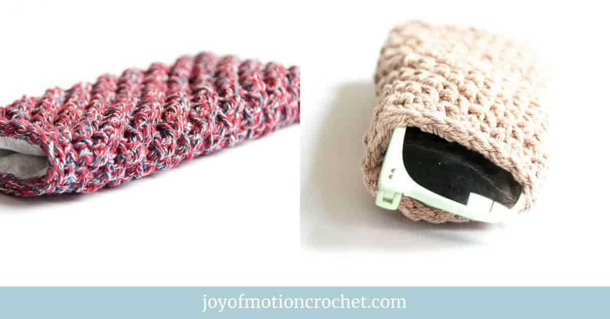 crochet Cute Sunglasses Pouch, free crochet pattern, skill level easy, picture collage