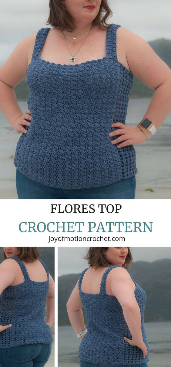 Flores top crochet pattern. Crochet top plus size. Intermediate crochet top with sizes from XS to 5XL. Crochet top singlet for women. Summer crochet pattern. #crochettop #crochetpattern #intermediatecrochet #crochetpatterntop #crochetpatternforher