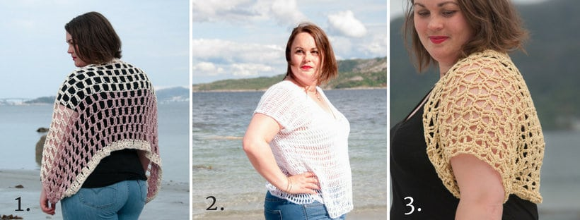 soft easy crochet shawl, picture with 3 suggested crochet patterns that the reader might like.