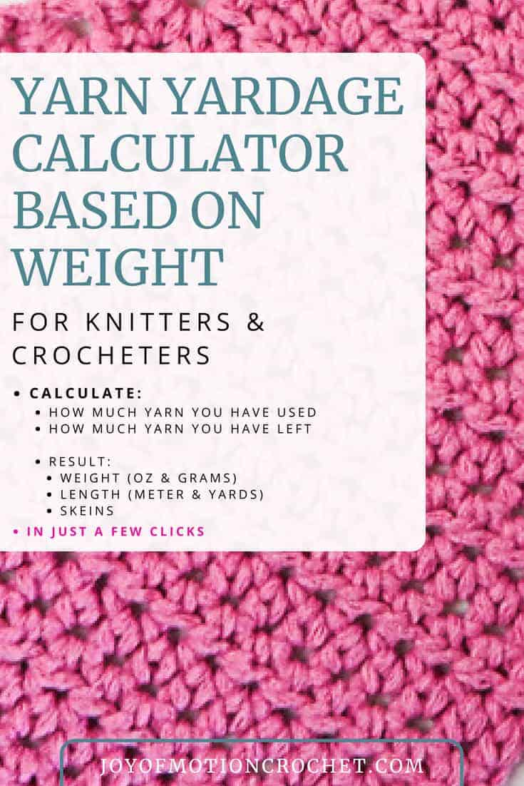 The yarn yardage calculator based on weight will help you figure out exactly how much yarn you've used or have left, in yards, meter, weight & skeins.  Calculate yardage for crochet and knitting. How much yarn do I need. How much yarn have I used? #yarncalculator #yarnyardage #crochetcalculator #crochet #crocheting