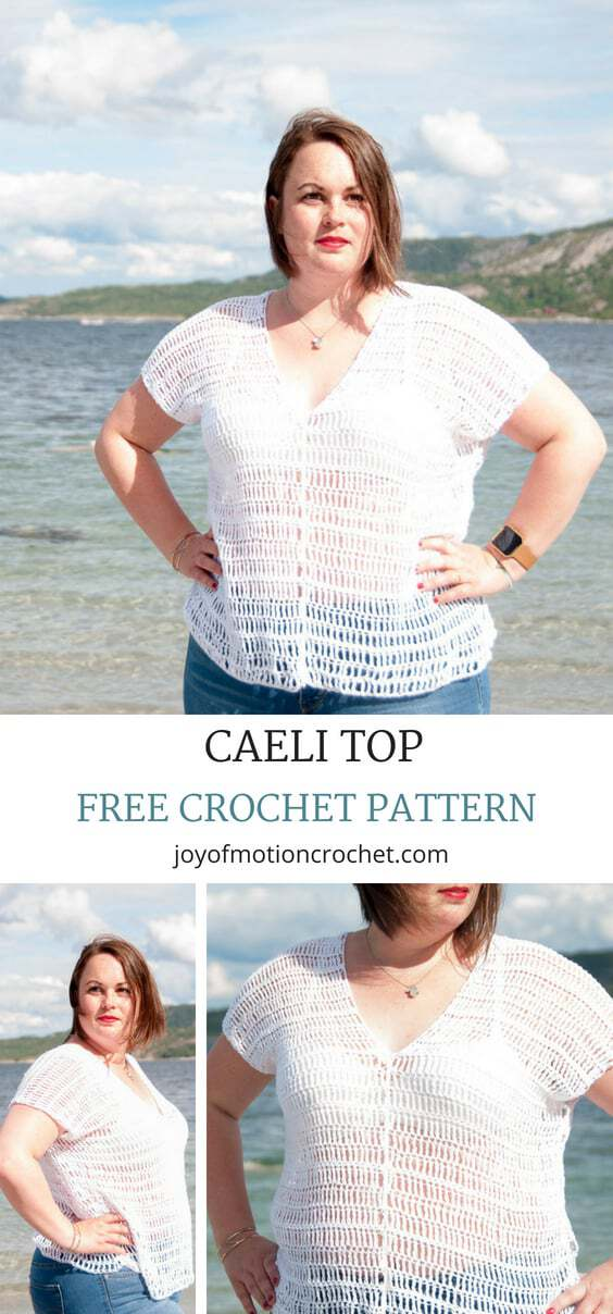 Free beginner crochet pattern for the crochet Caeli top a free pattern from Joy of Motion Crochet. Crochet your first garment..  Enjoy this beginner friendly crochet pattern for a women's garment that works up fast. #crochet #crocheting #crochetpattern #crochettop #crochetclothing