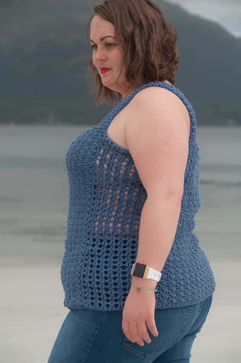 Flores Top Crochet Pattern Design , intermediate crochet top modeled by the sea