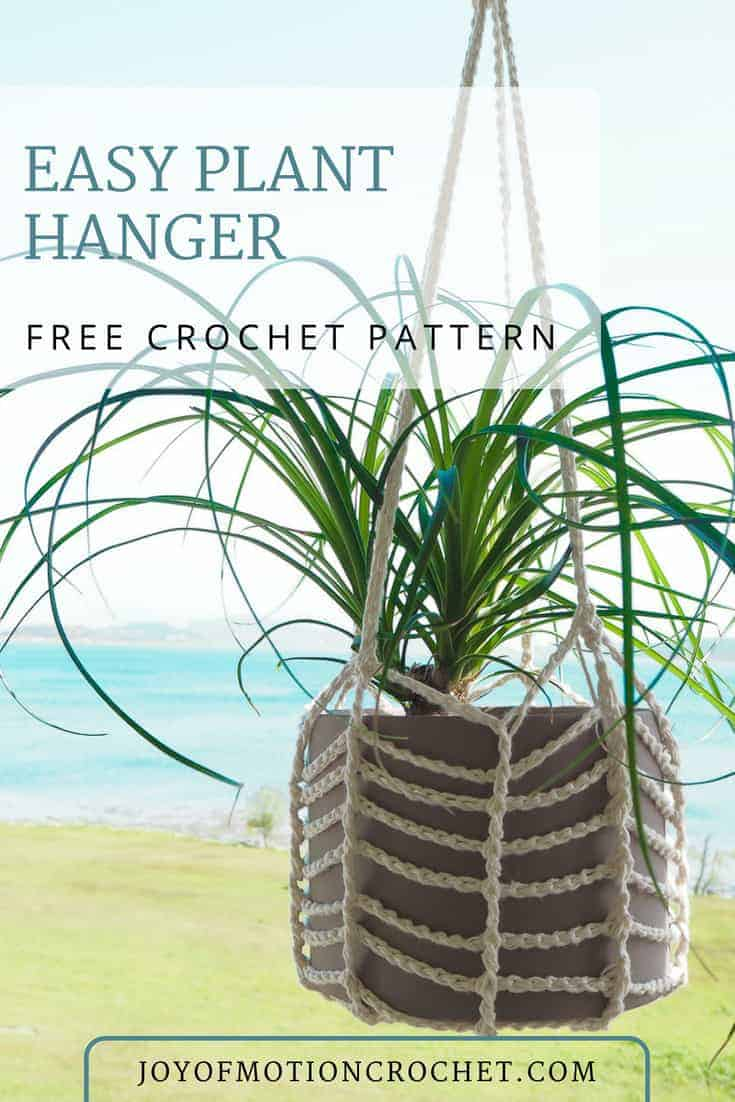 Crochet easy plant hanger a FREE crochet pattern from Joy of Motion crochet. This is a easy crochet pattern, so you can be a newbie crocheter. You can crochet this plant hanger for any pot, with easy instructions to customize. #crochet #crochetpattern #crochetplanthanger #planthanger