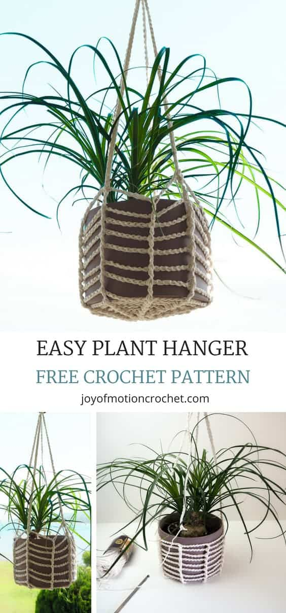 Crochet pattern for the crochet easy Plant Hanger from Joy of Motion Crochet. FREE crochet pattern with step by step pictures, but PDF available. Great for hanging pots in your home or garden. Easy crochet tutorial for beginners. #crochet #crochetpattern #easycrochet #planthanger