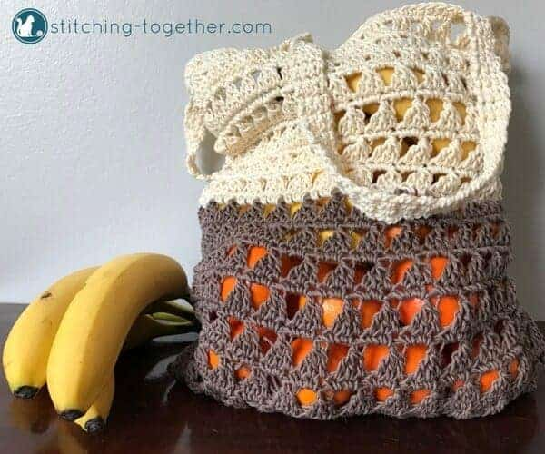 amazing crochet market bags, crocheted grocery bag with fruits