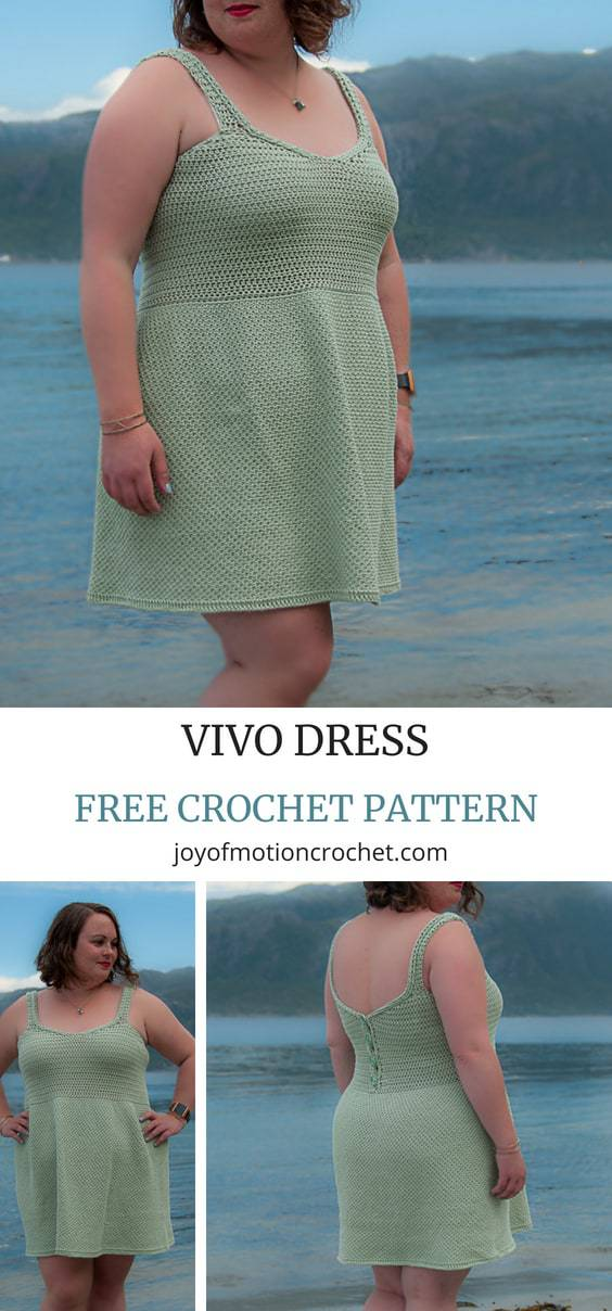 FREE Dress Crochet Pattern. Intermediate skill level crochet pattern. Free dress crochet pattern Vivo dress. Crochet pattern design from Joy of Motion Crochet. Perfect for spring and summer, but works well for fall as well. Available in size XS to 5XL, which means both petite sizes & plus sizes. Crocheted in 1 piece. #crocheted #crochetpattern #crochetdress #crocheting