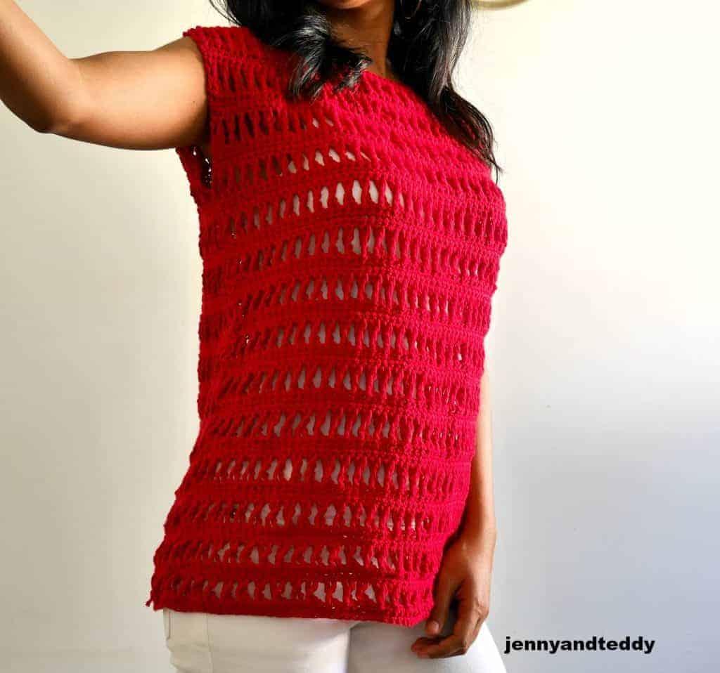 fun summer crochet tops, a red crocheted top modeled