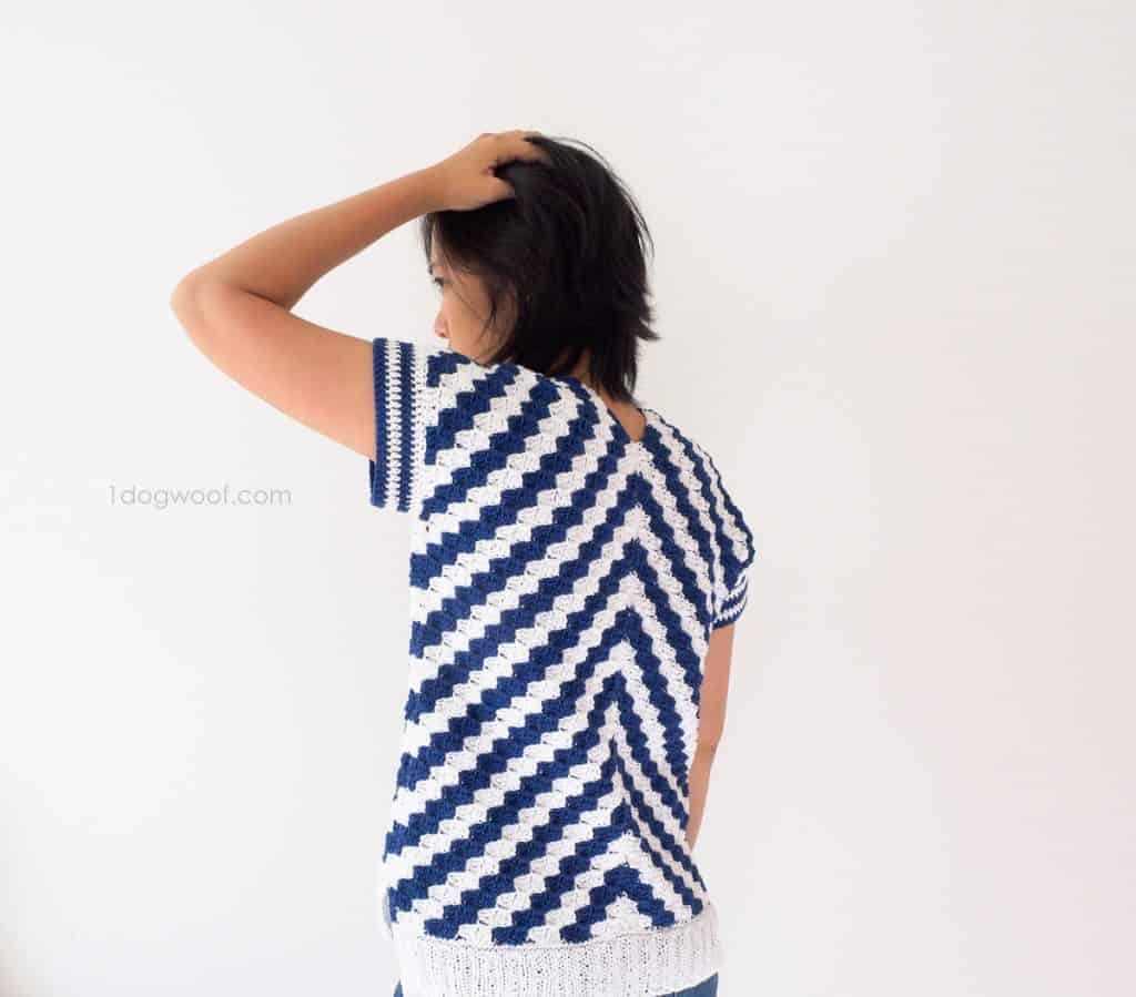 fun summer crochet tops, diagonal for days crochet top with blue and white stripes
