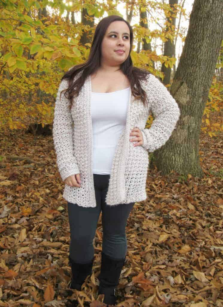 Wonderful Crochet Cardigans for Fall , fall themed picture with a crochet cardigan modeled
