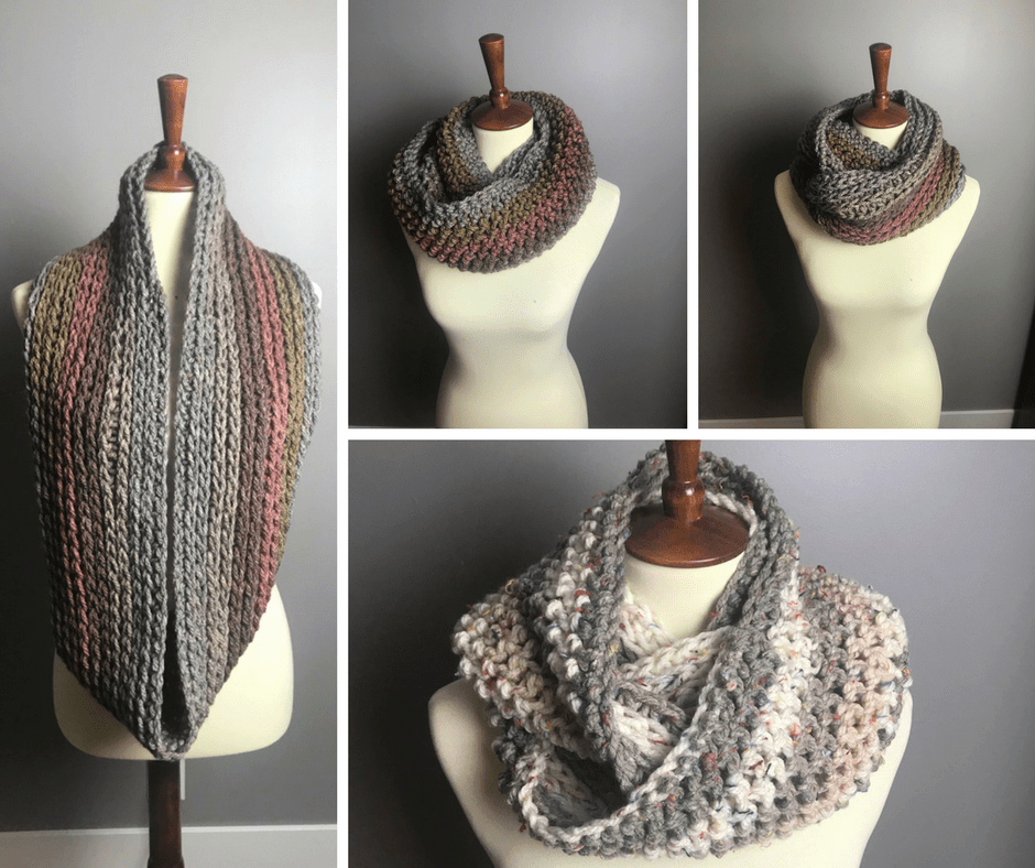 un crochet cowls and scarfs for fall, a collage of multiple pictures of the faux knit infinity cowl