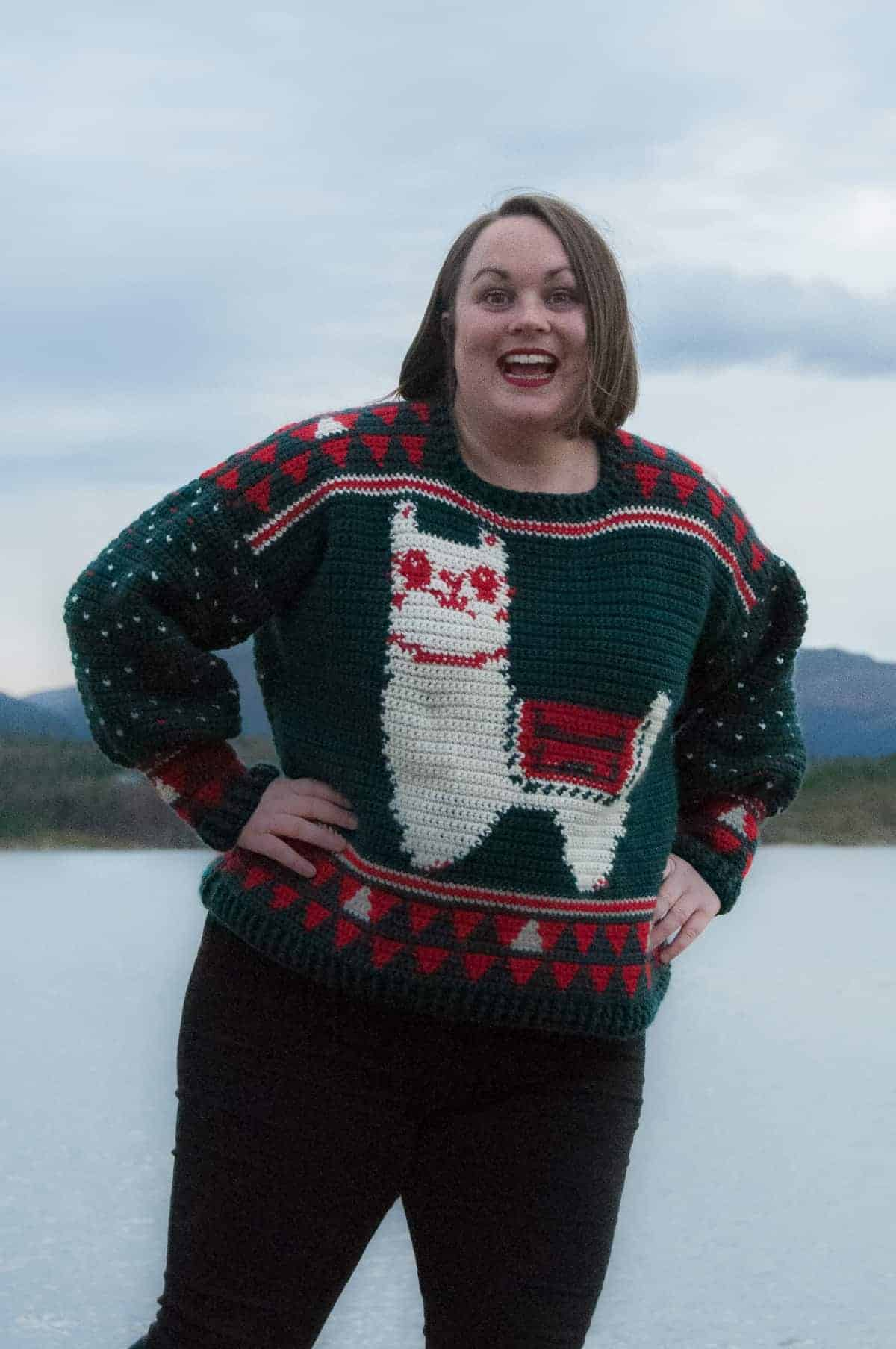 crochet alpaca my holiday sweater free crochet pattern modeled, ugly christmas sweater