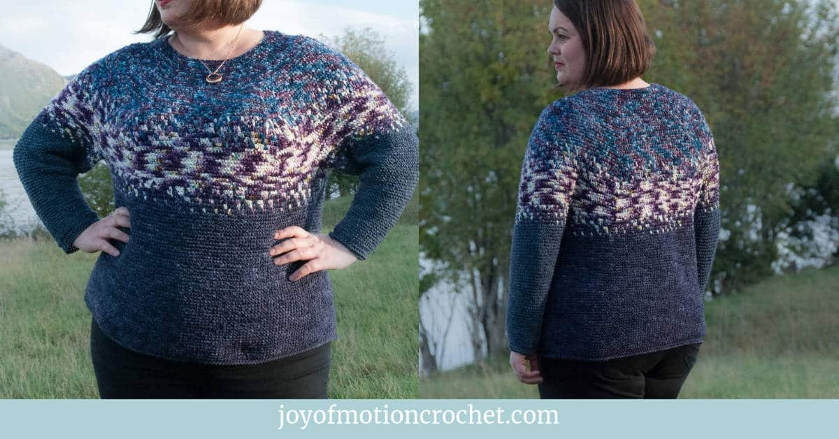 crochet gradvis sweater free crochet pattern, crochet sweater modeled, made with hand dyed yarn