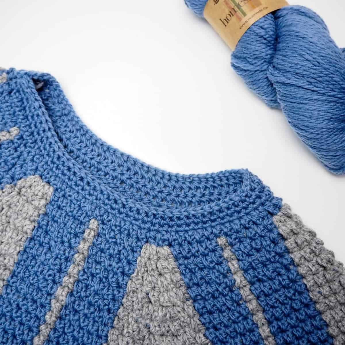 crochet top down nordic sweater