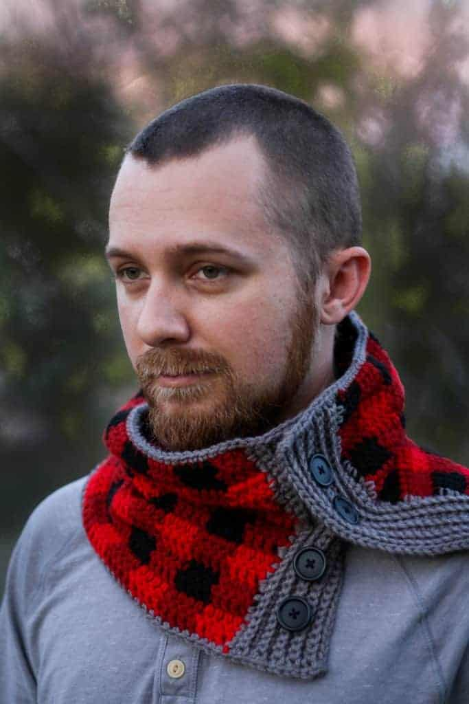 Buttoned Plaid Cowl Free Crochet Pattern