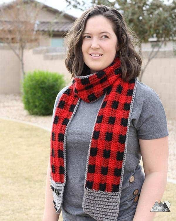 Buttoned Plaid Crochet Scarf